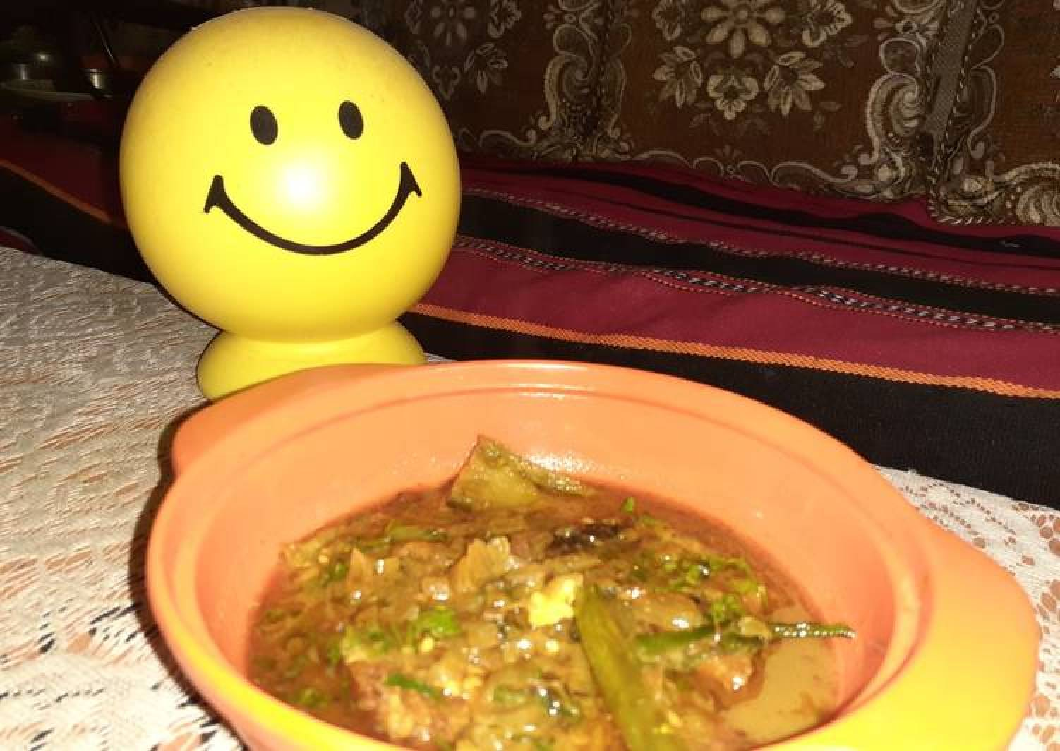 Katla fish curry with eggplant