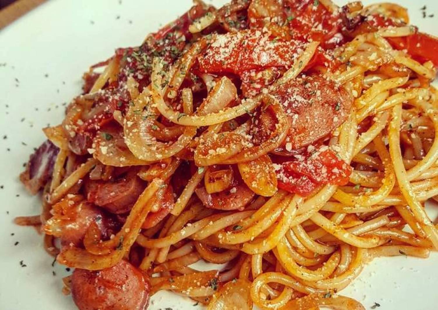 Napolitan Japanese Spaghetti with Chicken Sausage