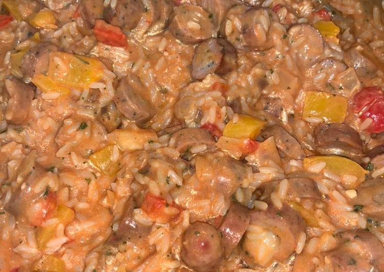 Asiago chicken sausage and peppers with rice skillet