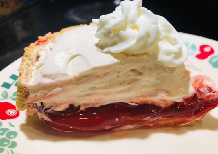 Inverted Holiday Cream Cheese Cherry Pie