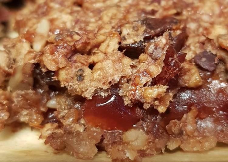 Cacao cranberry flapjack bites