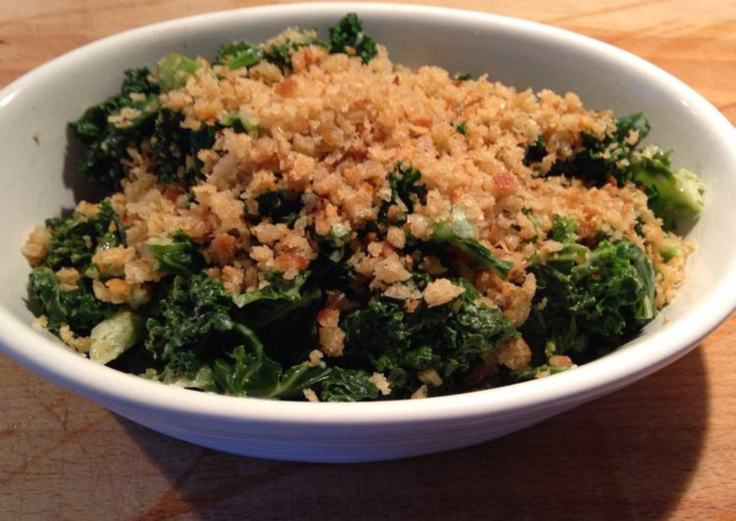 Curly Kale with Cream and Crispy Breadcrumbs