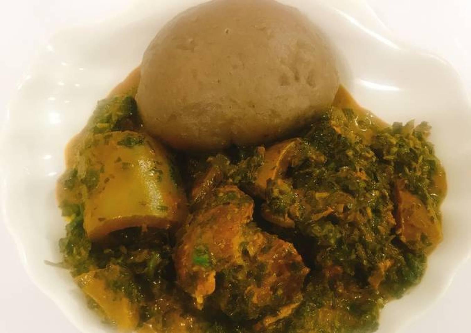 Vegetable soup and amala
