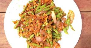 Stir Fry French Bean And Eggs With Onion Sambal