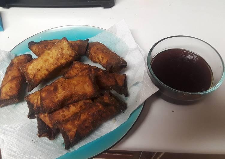 Thanksgiving leftover egg rolls with cranberry sweet & sour sauc
