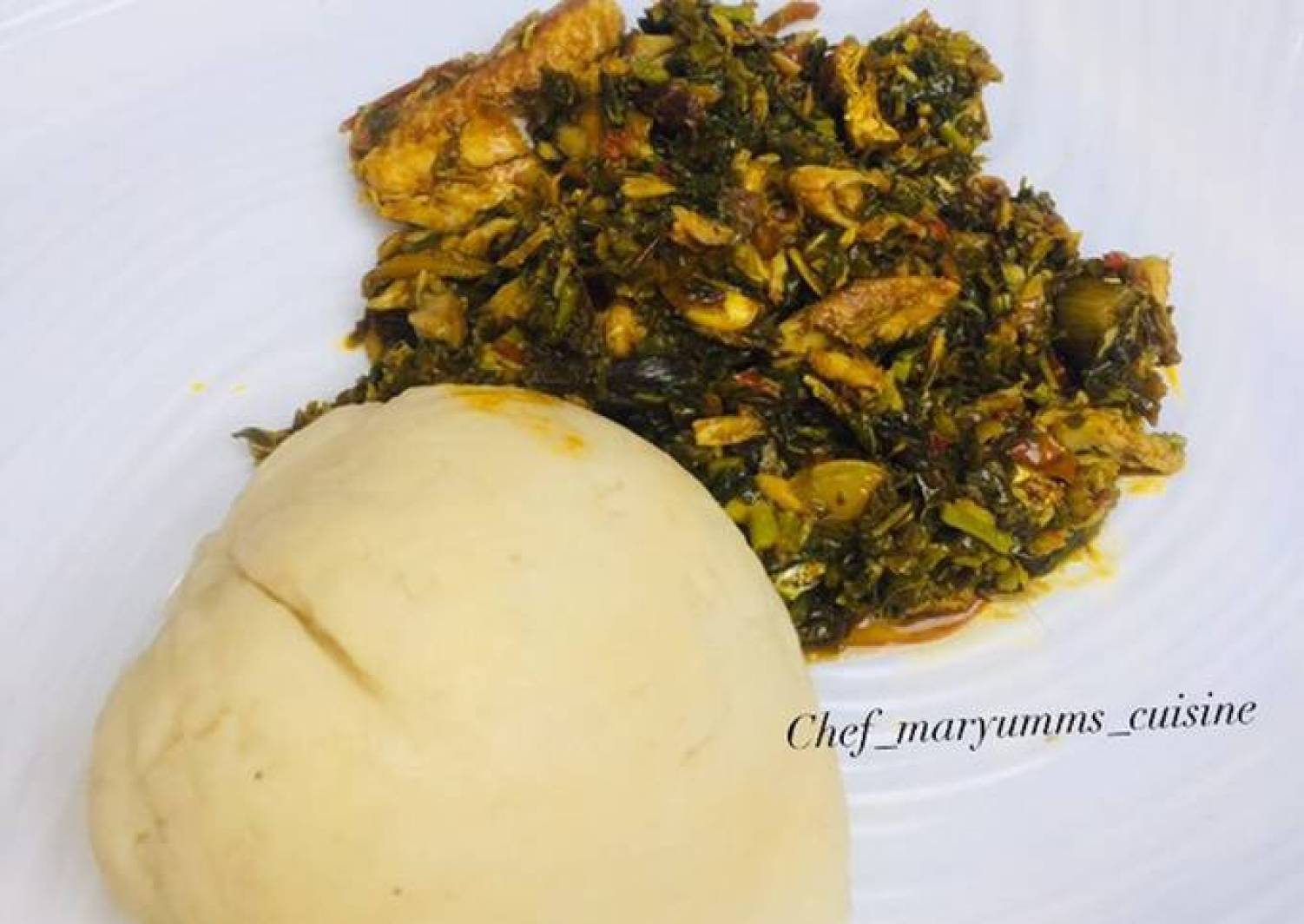 Vegetable soup and pounded yam by chef maryumms cuisine🌸