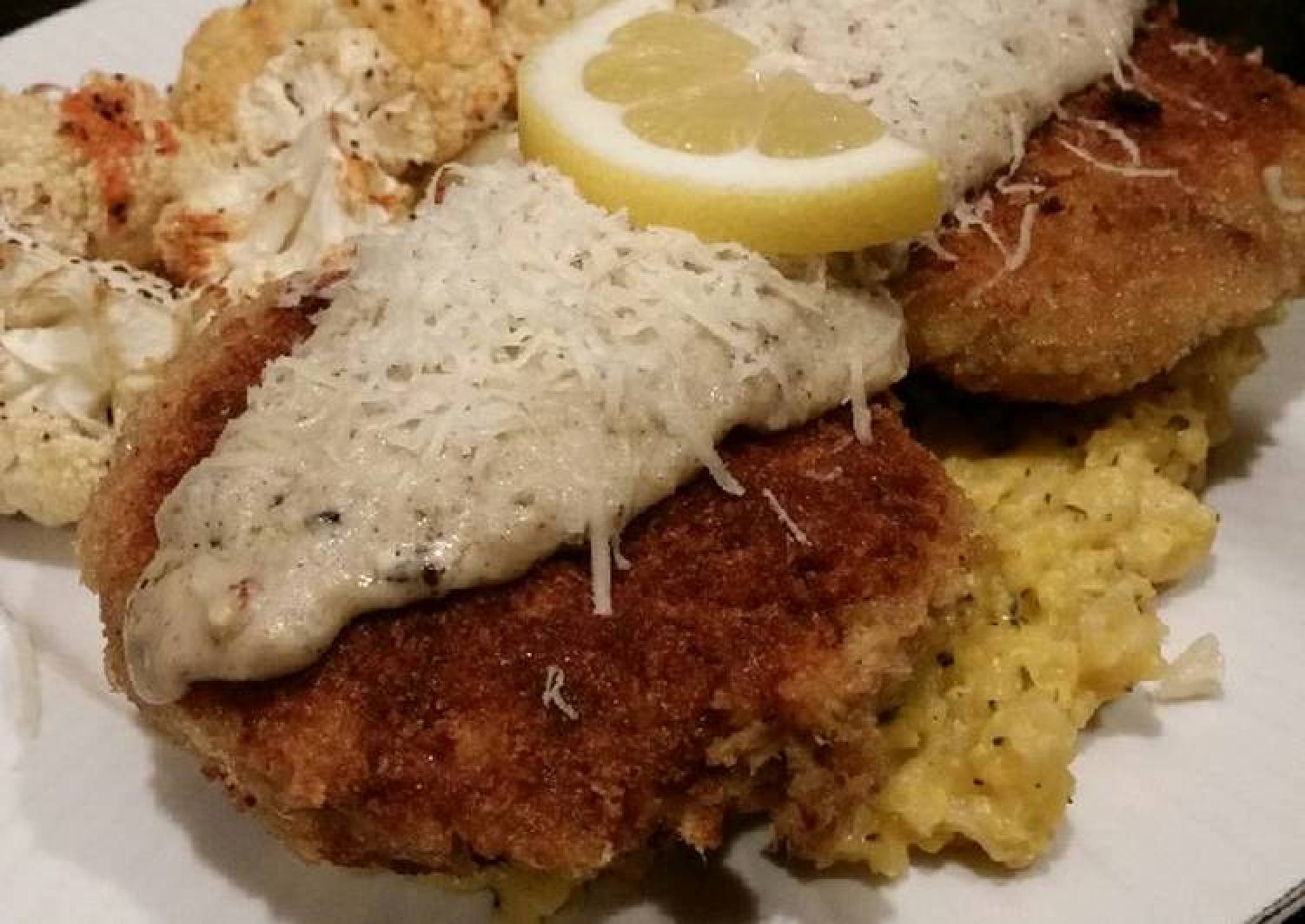 Brad's stuffed salmon cakes with lemon basil bechamel sauce