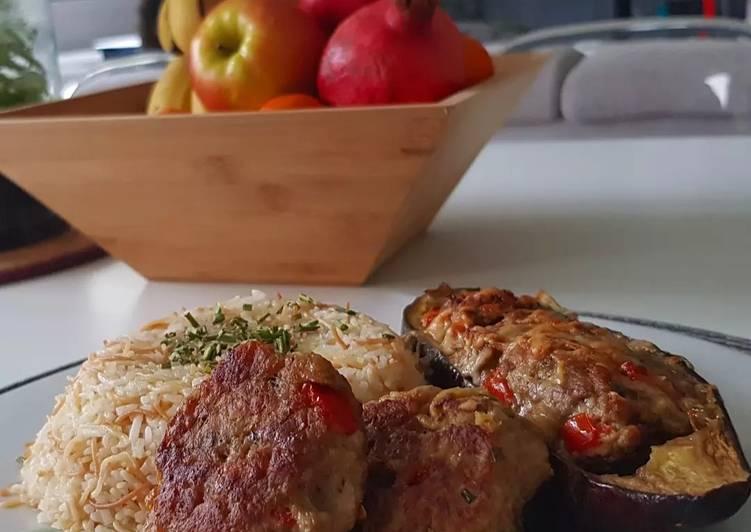12• Aubergine farcie à l'agneau- Riz pilaf+Recette boulette 0 gâchis