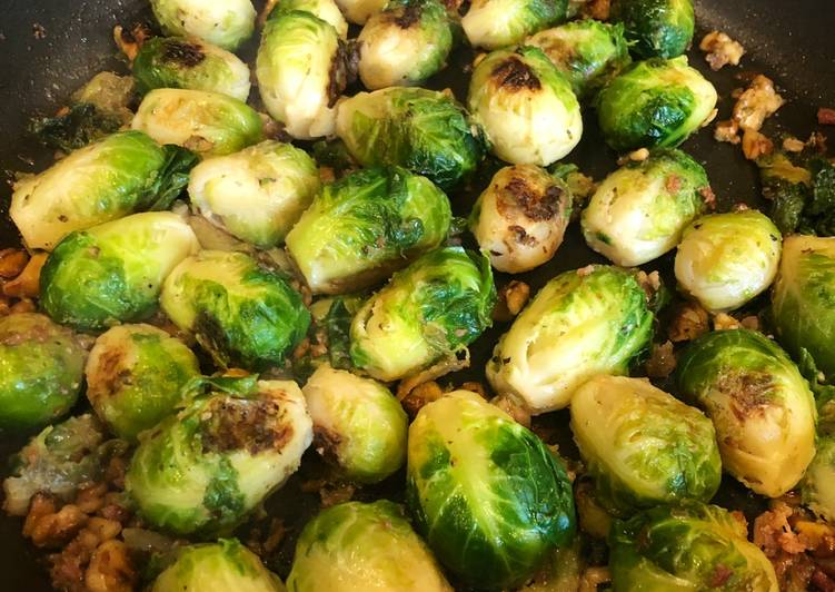 Pan fried Brussels sprouts
