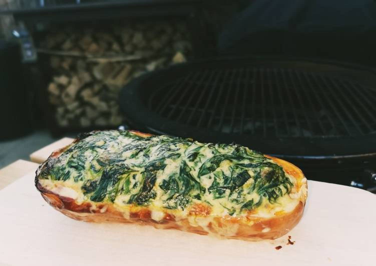 Baked BBQ Butternut with a cream spinach filling 👌