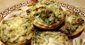 Spinach bacon and cheese cup appetizers