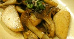 Stir-Fried Mushrooms and Yam with Butter and Soy Sauce