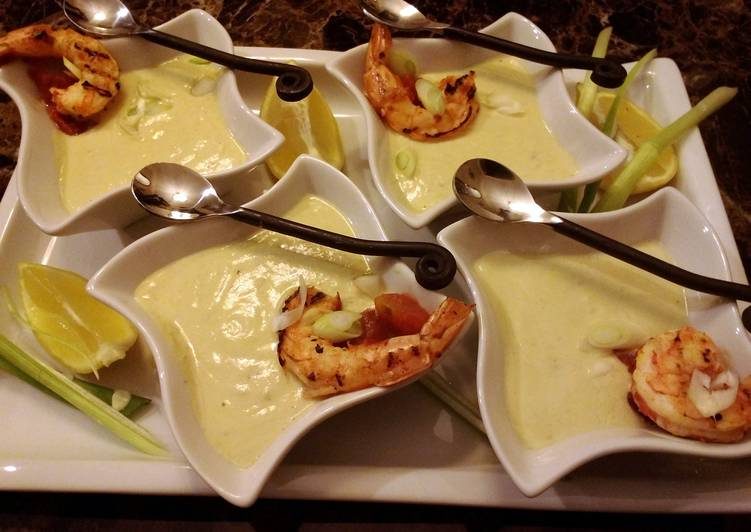 Easiest Way to Prepare Yummy Starter Avocado Soup with Spicy Grilled Shrimp