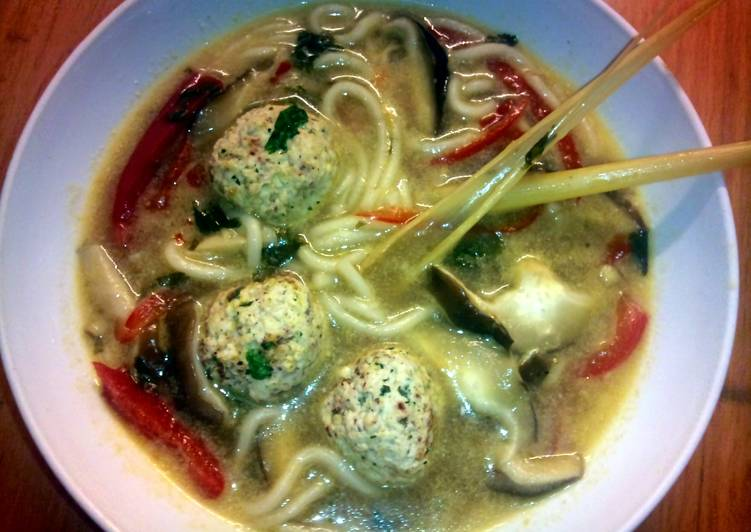 Sig's Thai chicken balls with noodle soup