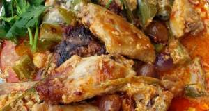 Baked Spicy Chicken And Okra In Banana Wrap