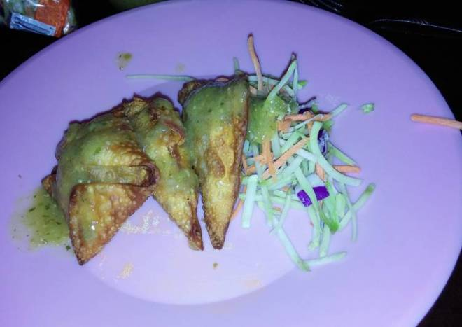 Fried Pork Wontons and Green Salsa