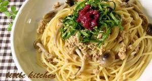 Japanese-style Pasta with Chicken Soboro and Shimeji Mushroom dressed in Pickled Plum Sauce