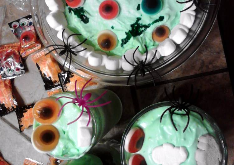 Monster Eyes n Slime Oreo Layered Dessert ~ halloween