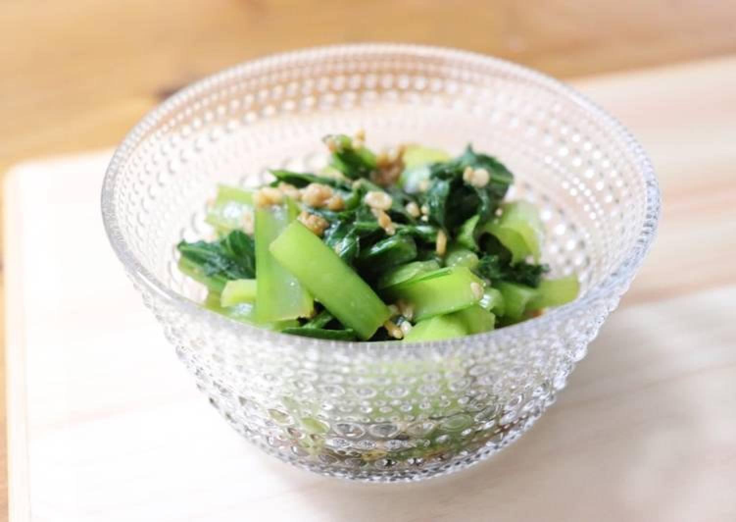 Japanese vegetable dishes, Komatsuna and Amazake, balsamic vinegar