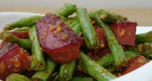 Green Bean And Spam With Orange Ginger Sauce