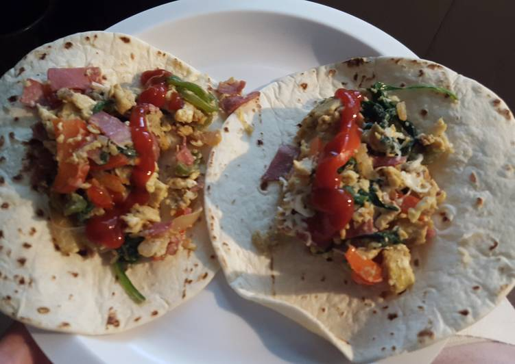 Veggie and Turkey Bacon Breakfast Burritos