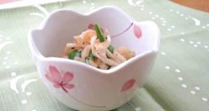 Stir Fried Kiriboshi Daikon with Snow Peas and Sakura Shrimp