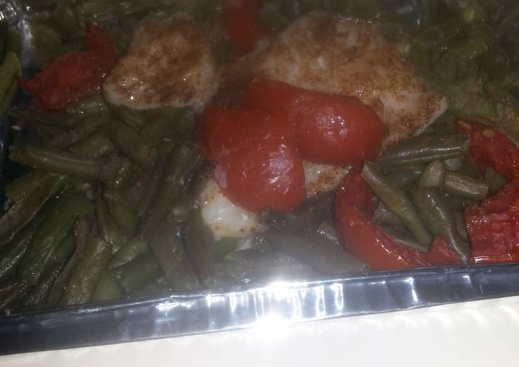 HCG diet meal 7  fish fillet with string beans