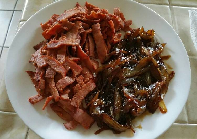 Pan Fried Turkey Bacon and Carmelized Onions Side Dish