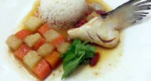 LG POACHED SALMON WITH POTATO AND CARROT IN ESSENCE OF CHICKEN BROTH