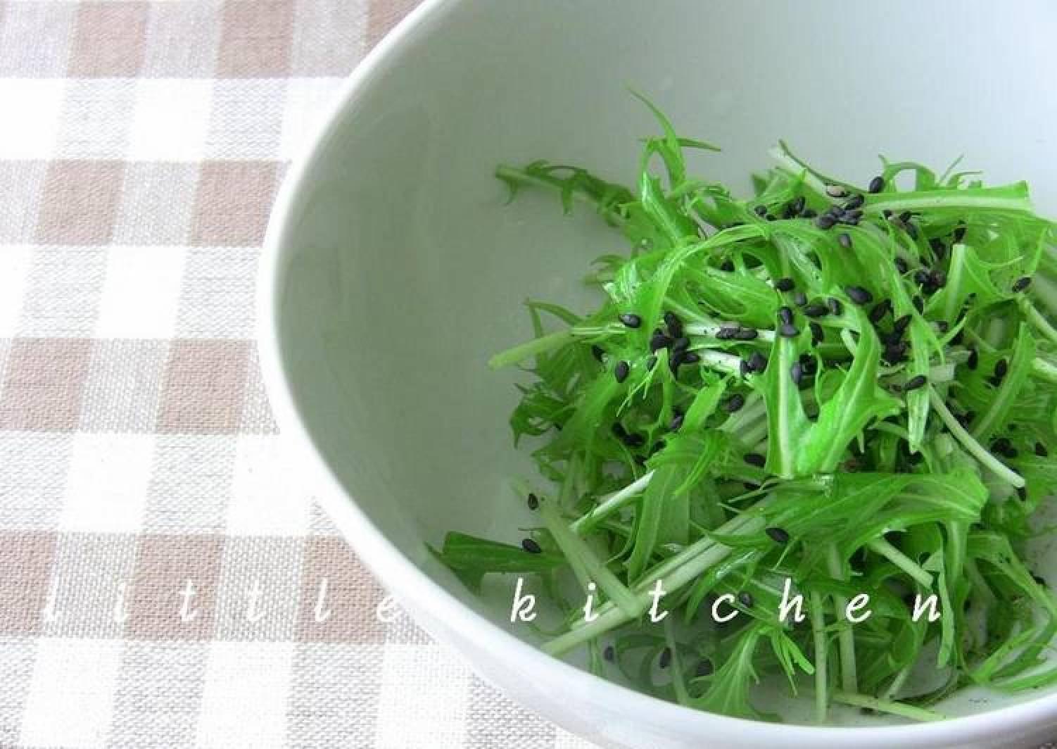 Mizuna Salad with Fragrant Sesame Oil