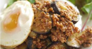 Japanese-Style Eggplant  Ground Meat Bolognese on Rice