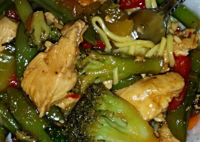 Steps to Make Quick Chicken & veggie stir-fry