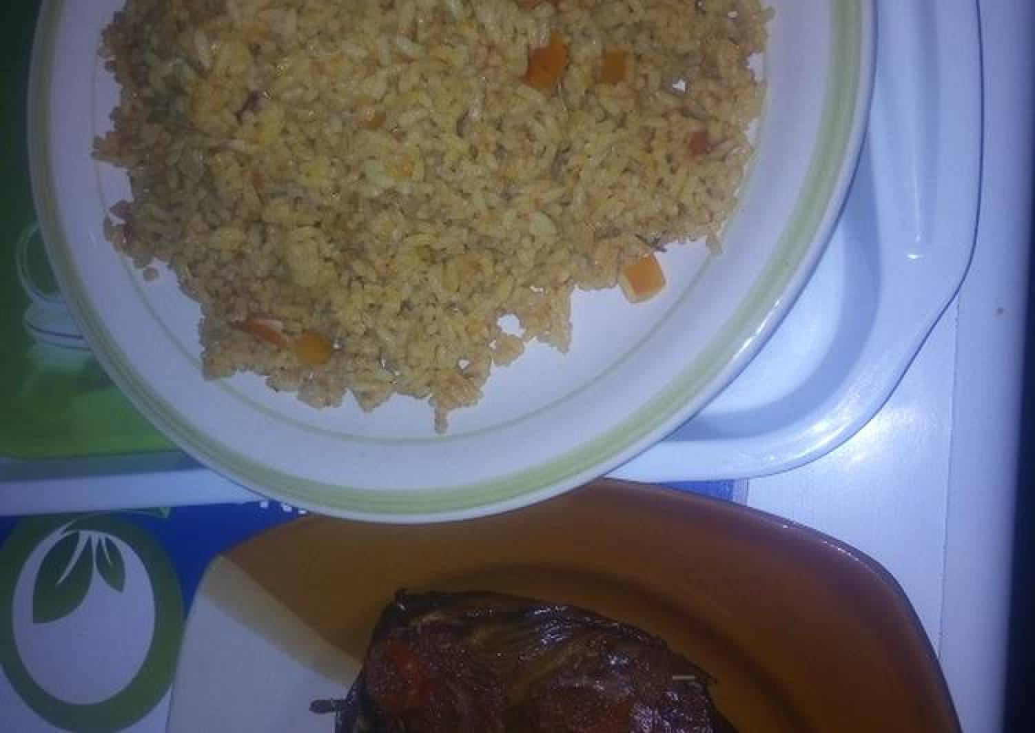 Peppered dried fish with jollof rice