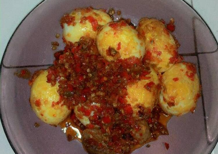Resep Sambal balado telur dan bakso simple ala rumahan