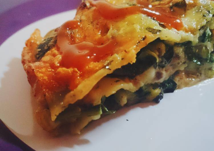 Cheesy pork spinach LASAGNA