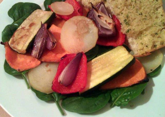 Vickys Roasted Vegetable Stacks with Ciabatta, GF DF EF SF NF