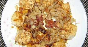 Fried Tofu Top Bacon And Shaved Mackerel