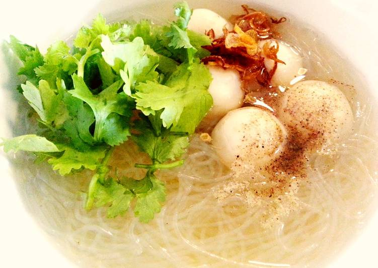 Winter vermicelli in fish ball soup