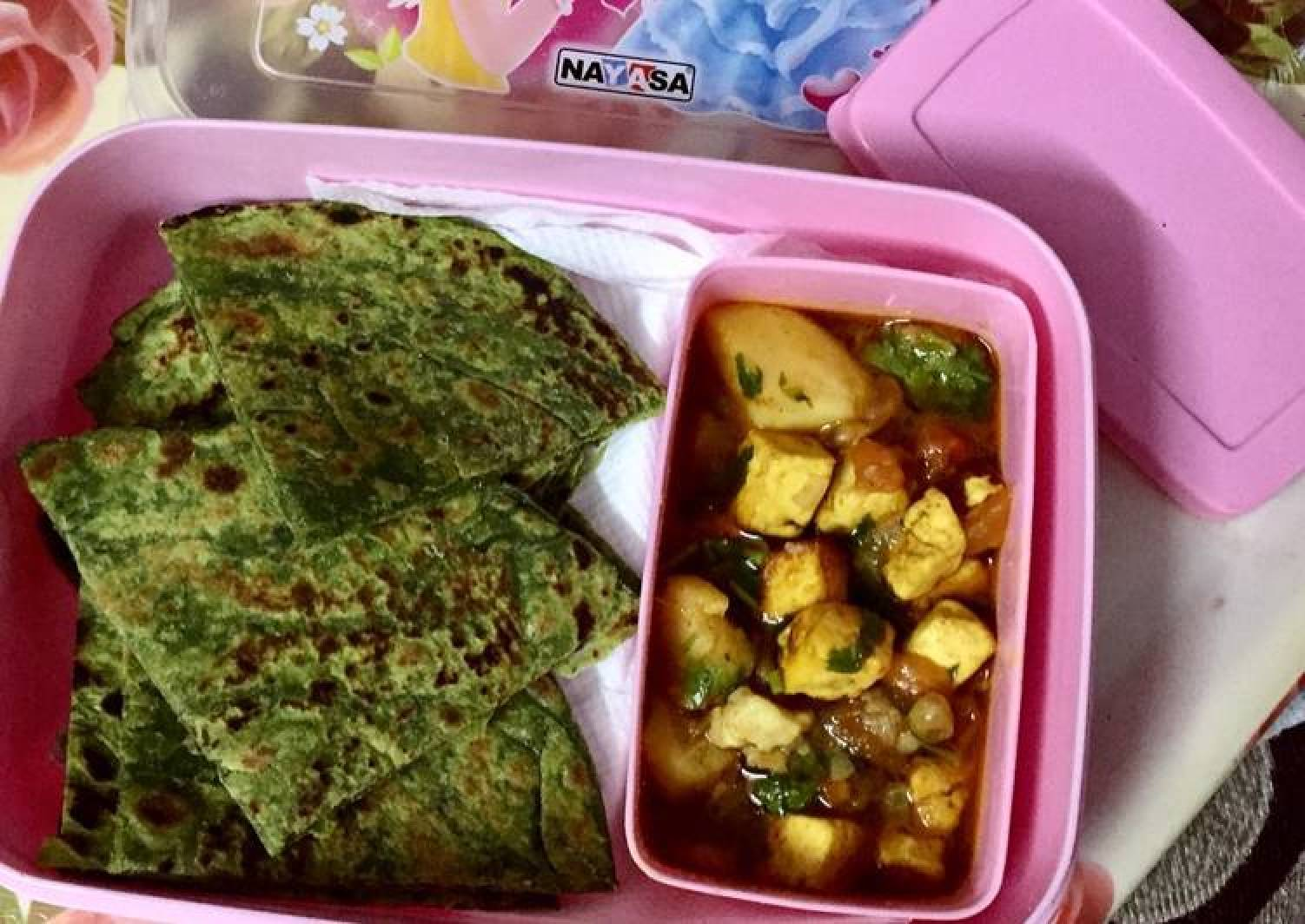 #Healthy tiffin recipe #thc #post-2 #3-july #spinishparathawithaalupaneer