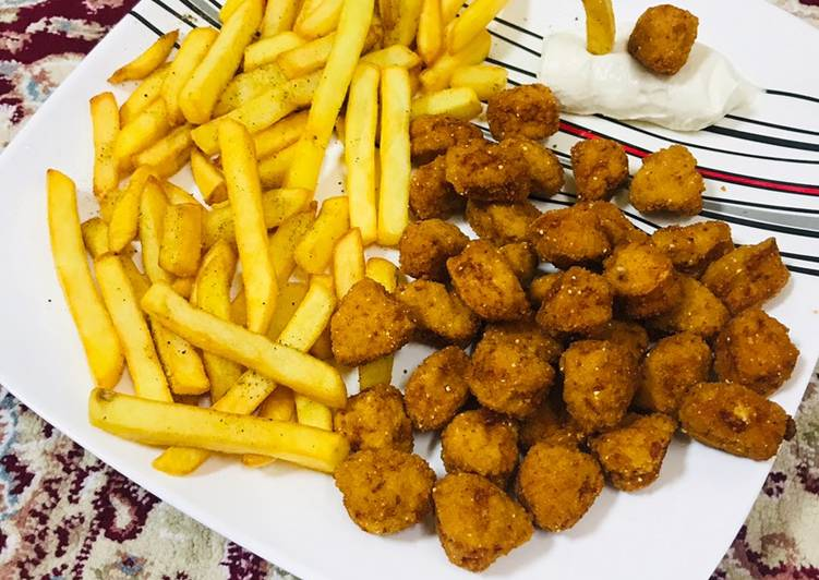 French fries  chicken popcorns