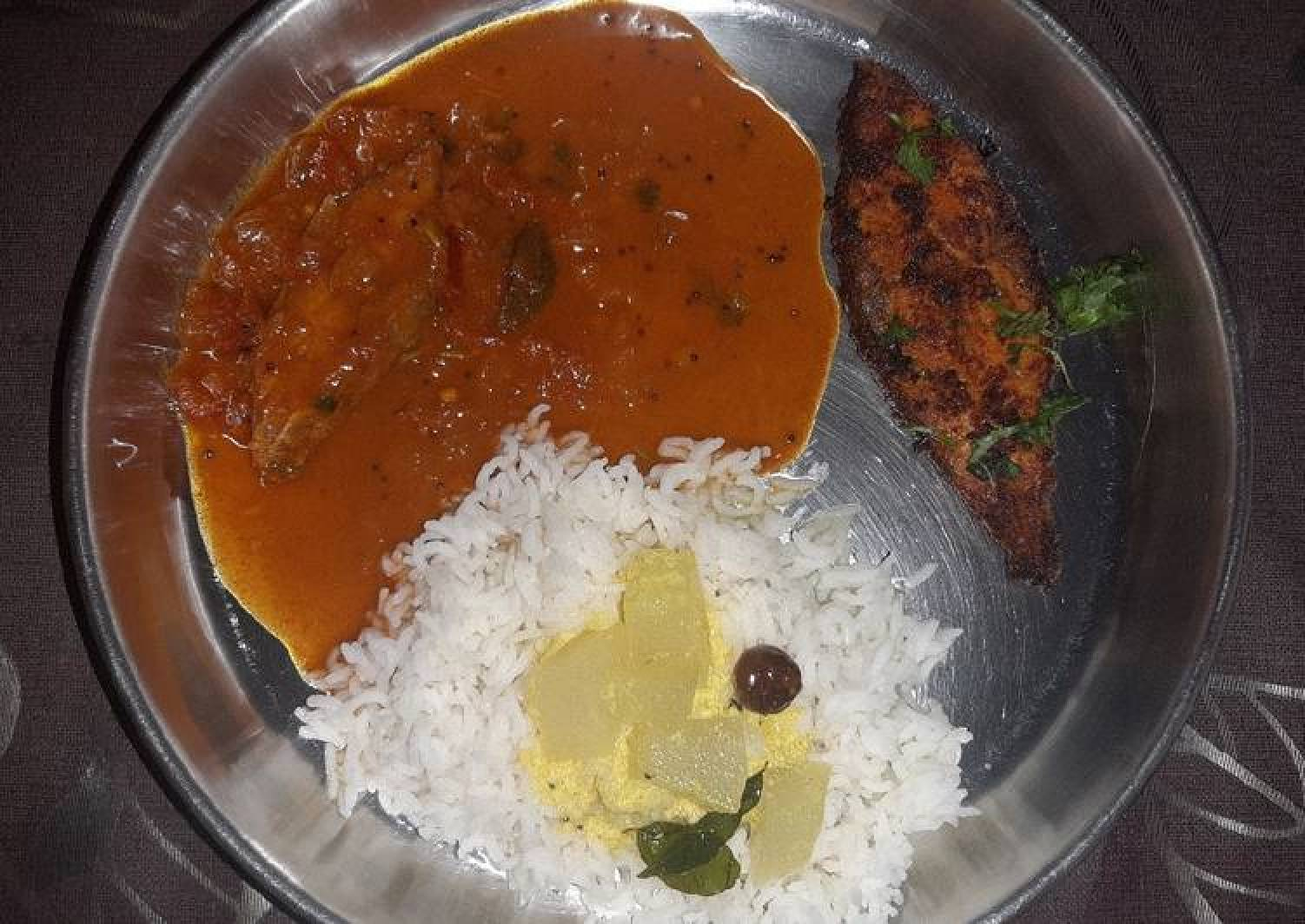 Fish thali Rice with Fish curry fish fry and spiced buttermilk
