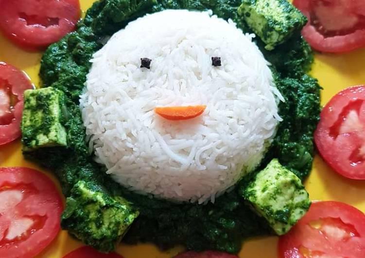 Palak Paneer Steamed Rice