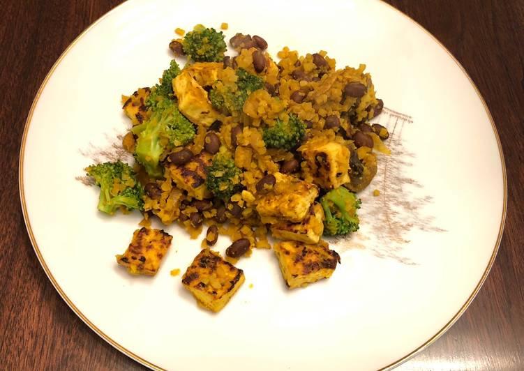 Cauliflower Yellow Rice with Black Bean,Tofu,and Broccoli 🥦