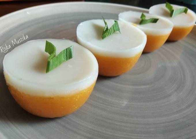 Steps to Prepare Homemade Kue Talam Ubi Kuning aka Sweet Potato Cake