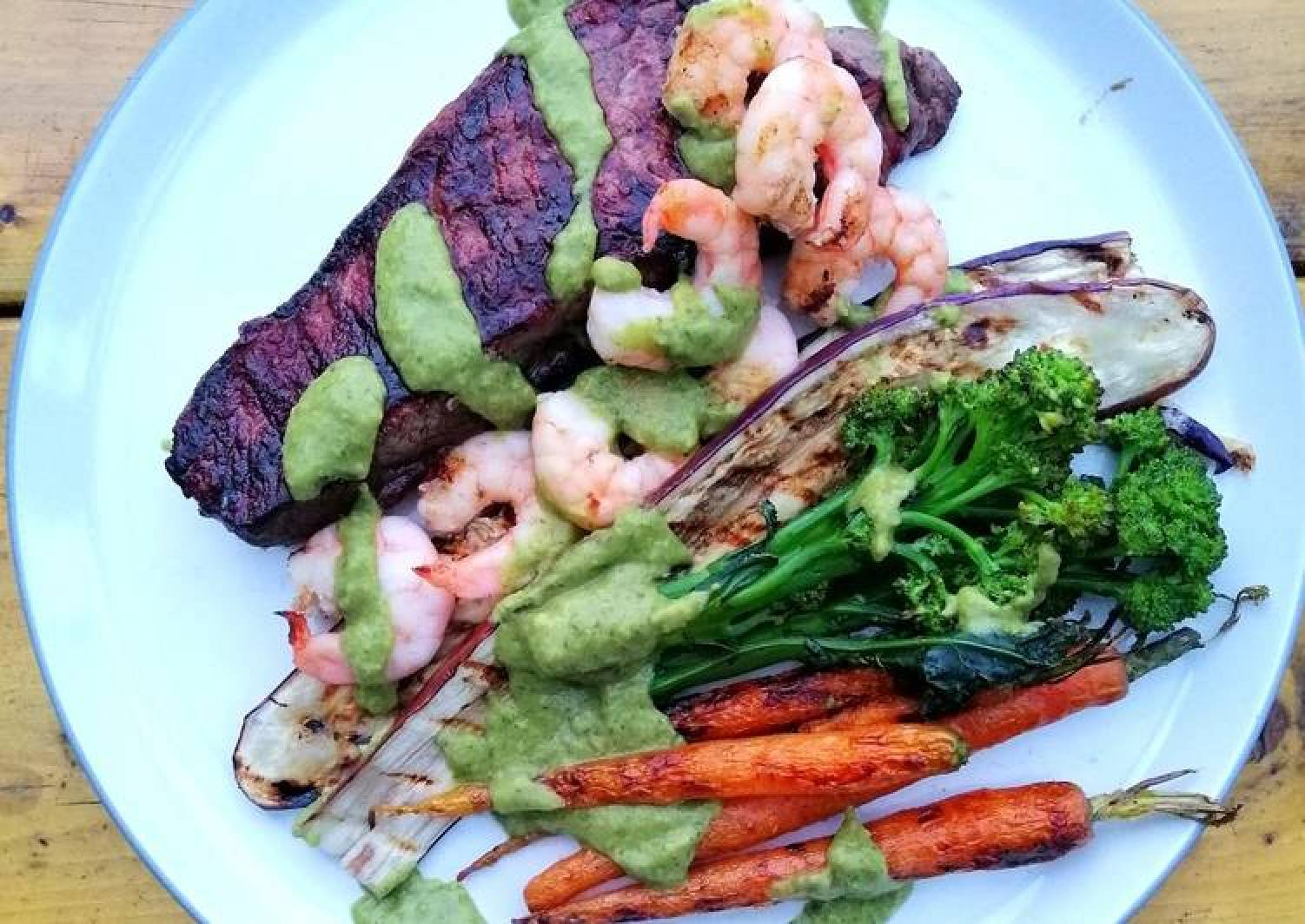 Surf and turf / grilled veg / avocado chimichurri