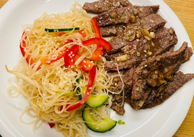 Asian Fried Steak With Noodle Salad