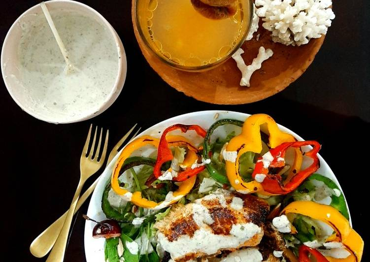 Yoghurt paprika tilapia with blue cheese dressing