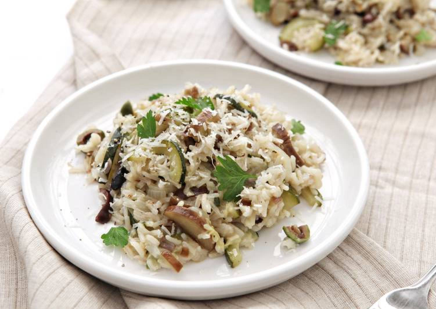 Japanese Eggplant, Zucchini, and Olive Rice with Marjoram and Parmesan