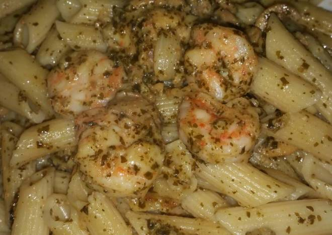 Penne with Shrimp in Pesto Sauce.