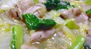 Chinese Cabbage  Bok Choy Salted Pork Belly in Sauce